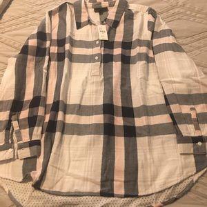 NEW Lane Bryant flannel blouse; plaid, 22/24